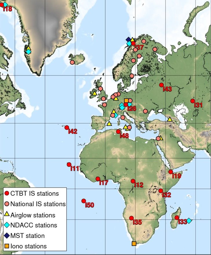 Map of monitoring stations for the observation